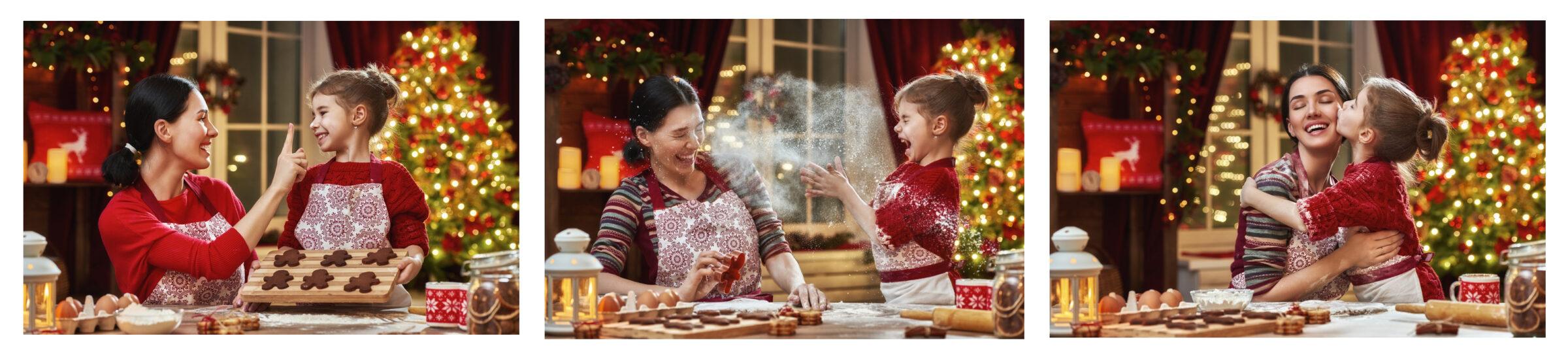 family mum daughter fire home fun christmas