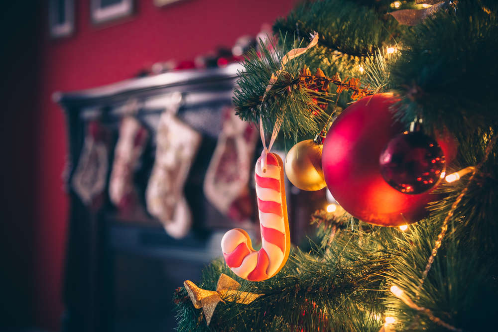 fireplace stocking food candy cane