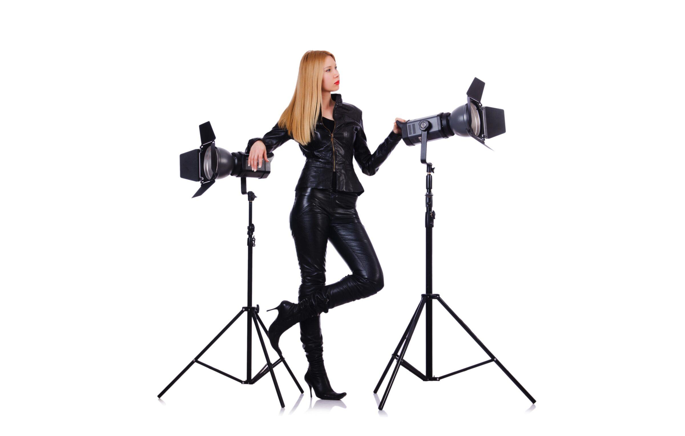 International Women's Day Photography lady camera lights black