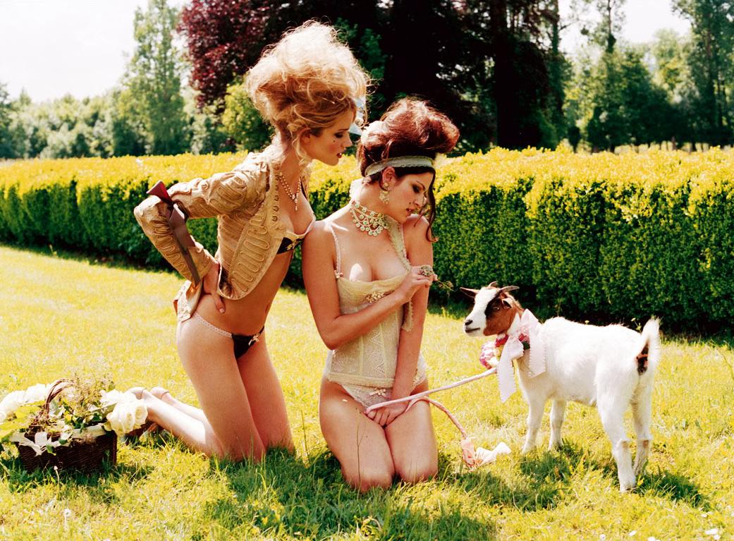 International Women's Day Photography Ellen Von Unwerth female fashion goat lingerie