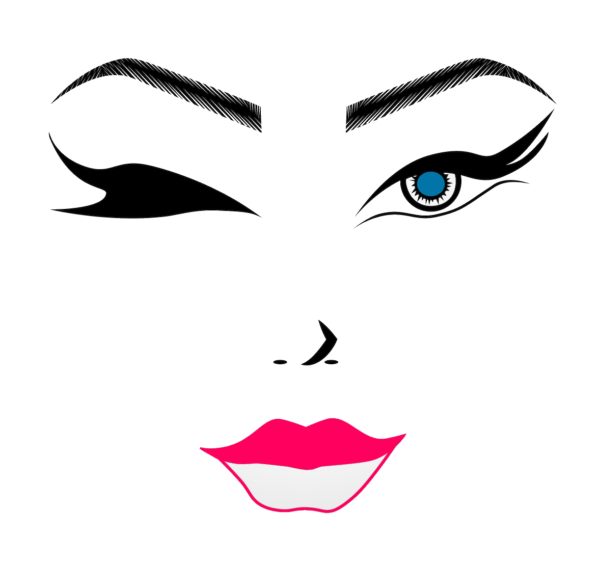 International Women's Day Photography face drawing outline wink