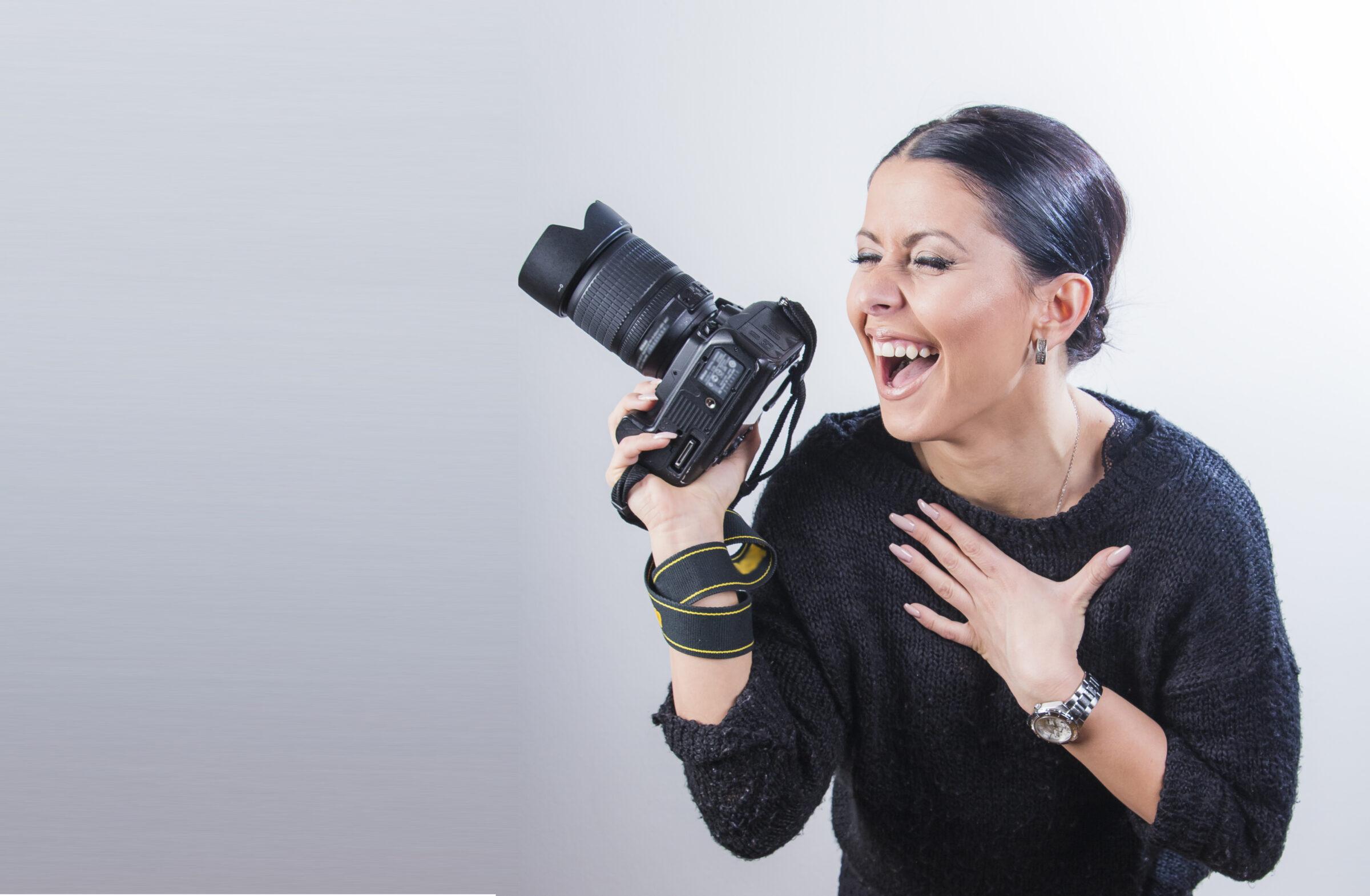 International Women's Day Photography female photo camera happy laughing