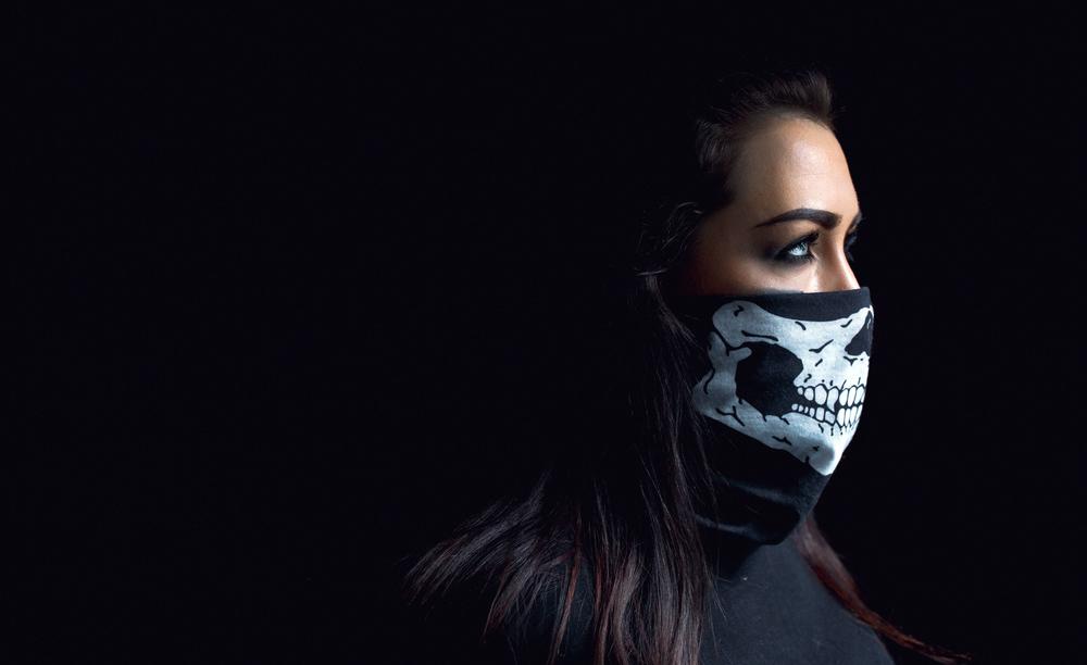 International Women's Day Photography face mask skull