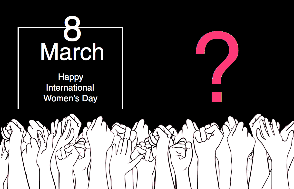 International Women's Day Photography date 8 march hands question mark